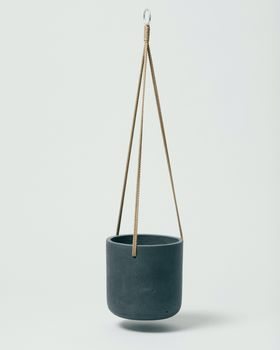 Hanging Fiberclay Pot Black Medium